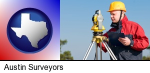Austin, Texas - a surveyor with transit level equipment