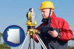 Arizona - a surveyor with transit level equipment