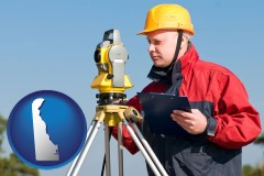 delaware map icon and a surveyor with transit level equipment