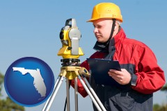 florida map icon and a surveyor with transit level equipment