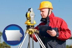 iowa map icon and a surveyor with transit level equipment