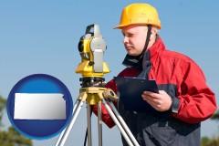 kansas map icon and a surveyor with transit level equipment