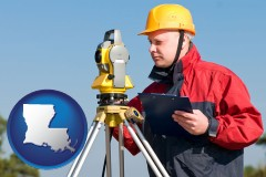 louisiana map icon and a surveyor with transit level equipment