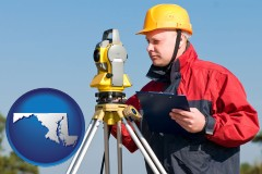 maryland map icon and a surveyor with transit level equipment
