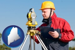 maine map icon and a surveyor with transit level equipment