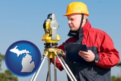 michigan map icon and a surveyor with transit level equipment
