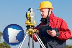 minnesota map icon and a surveyor with transit level equipment