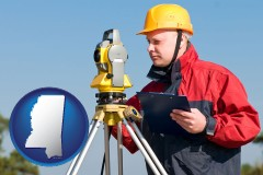 mississippi map icon and a surveyor with transit level equipment