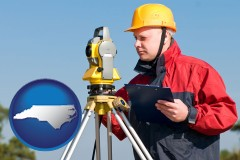 north-carolina map icon and a surveyor with transit level equipment
