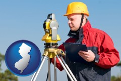 new-jersey map icon and a surveyor with transit level equipment