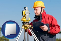 new-mexico map icon and a surveyor with transit level equipment