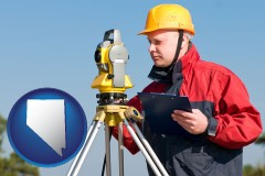 nevada map icon and a surveyor with transit level equipment