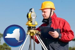 New York - a surveyor with transit level equipment