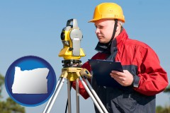 oregon map icon and a surveyor with transit level equipment