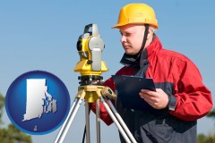 rhode-island map icon and a surveyor with transit level equipment