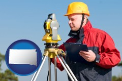 south-dakota a surveyor with transit level equipment