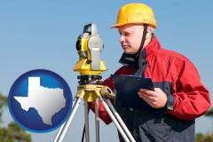 texas map icon and a surveyor with transit level equipment