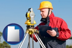 utah map icon and a surveyor with transit level equipment