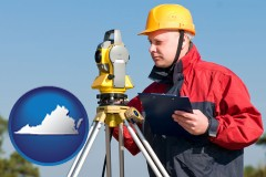 Virginia - a surveyor with transit level equipment