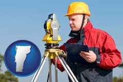 vermont map icon and a surveyor with transit level equipment