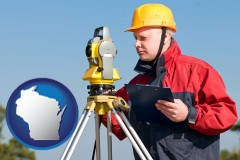 wisconsin map icon and a surveyor with transit level equipment