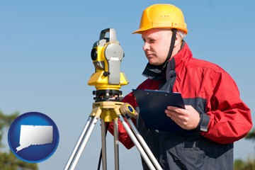 a surveyor with transit level equipment - with Connecticut icon