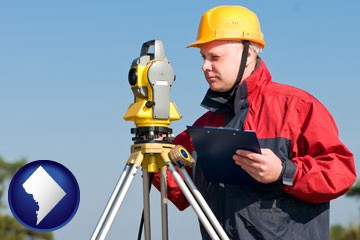 a surveyor with transit level equipment - with Washington, DC icon