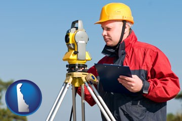 a surveyor with transit level equipment - with Delaware icon
