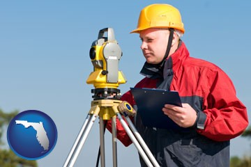 a surveyor with transit level equipment - with Florida icon