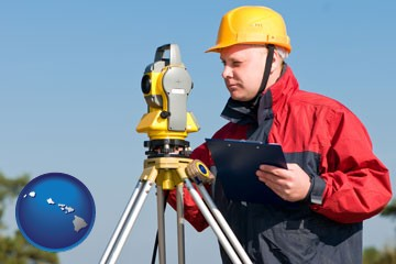 a surveyor with transit level equipment - with Hawaii icon