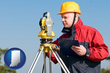 a surveyor with transit level equipment - with Indiana icon