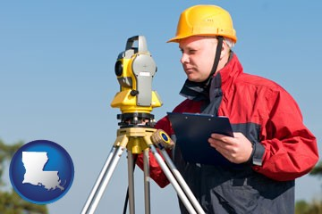 a surveyor with transit level equipment - with Louisiana icon