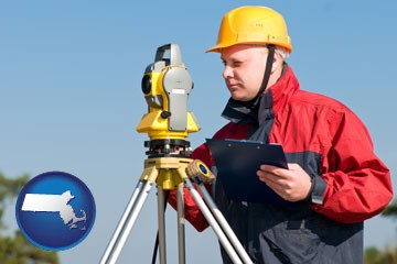 a surveyor with transit level equipment - with Massachusetts icon