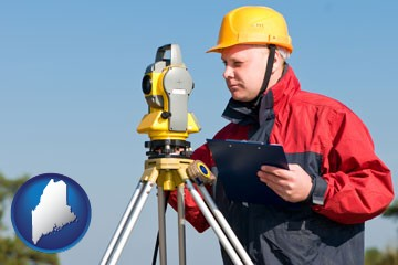 a surveyor with transit level equipment - with Maine icon