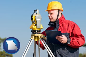 a surveyor with transit level equipment - with Missouri icon