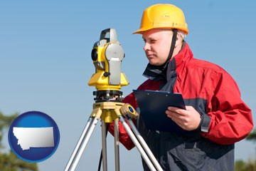 a surveyor with transit level equipment - with Montana icon
