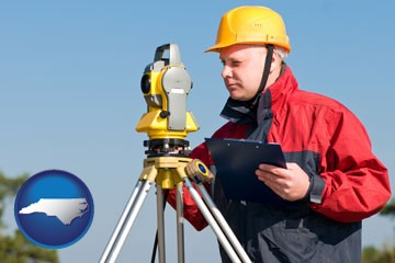 a surveyor with transit level equipment - with North Carolina icon