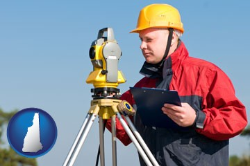 a surveyor with transit level equipment - with New Hampshire icon