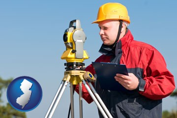 a surveyor with transit level equipment - with New Jersey icon