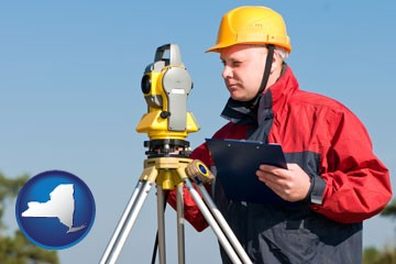 a surveyor with transit level equipment - with New York icon