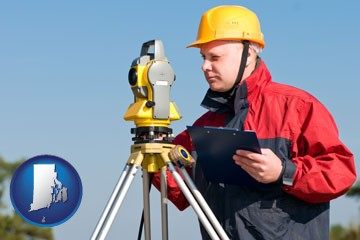 a surveyor with transit level equipment - with Rhode Island icon