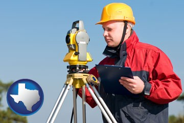 a surveyor with transit level equipment - with Texas icon