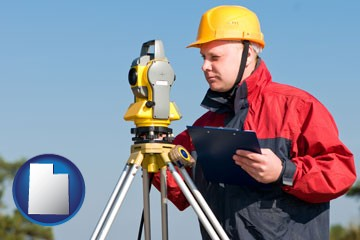 a surveyor with transit level equipment - with Utah icon