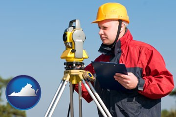 a surveyor with transit level equipment - with Virginia icon