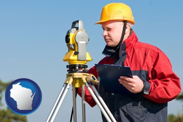 a surveyor with transit level equipment - with Wisconsin icon