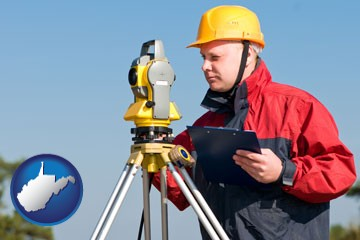 a surveyor with transit level equipment - with West Virginia icon